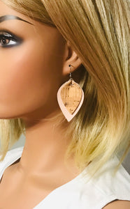 Genuine Pink Leather and Cork Earrings - E19-857