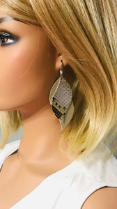 Genuine Metallic Gold and Python Snake Leather Earrings - E19-858