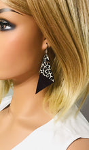 Load image into Gallery viewer, Genuine Purple Leather and  Baby Cheetah Print Leather Earrings - E19-859