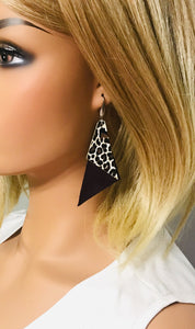 Genuine Purple Leather and  Baby Cheetah Print Leather Earrings - E19-859