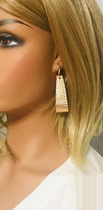 Metallic Gold and Pink Genuine Leather Earrings - E19-871