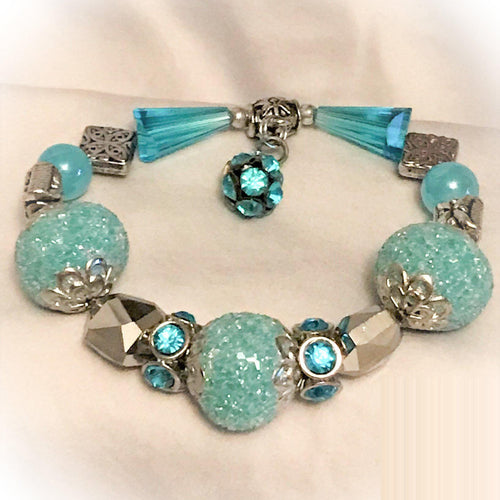 Glass Bead Stretchy Bracelet - B377