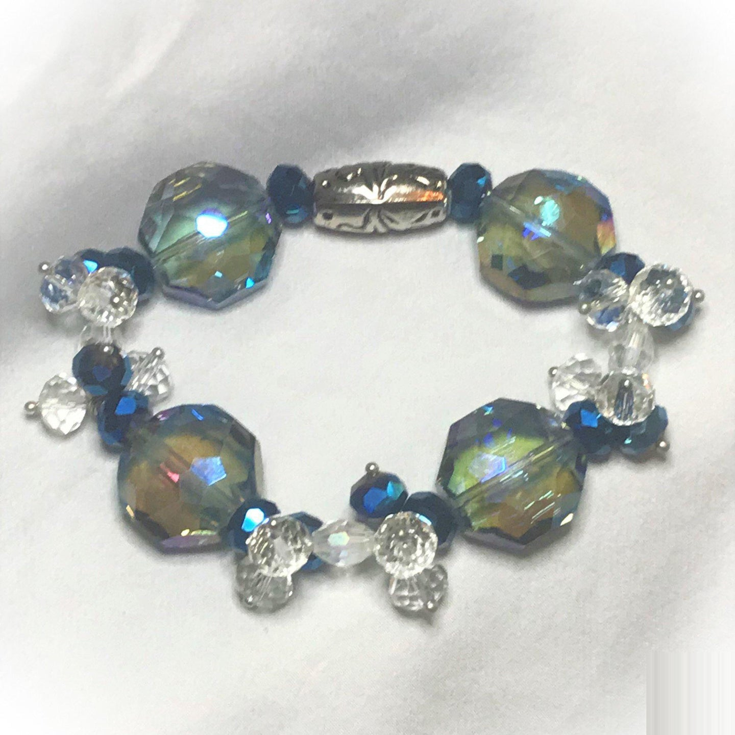 Glass Bead Stretchy Bracelet - B985
