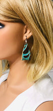 Load image into Gallery viewer, Brown and Turquoise Embossed Leather Earrings - E19-881