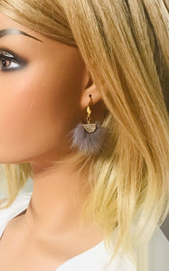Mink Fur Fan Shaped Tassel Earrings - E19-884