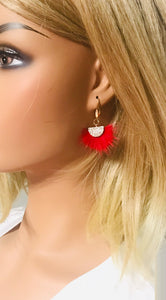 Red Mink Fur Fan Shaped Tassel Earrings - E19-885