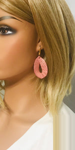 Rose Gold on Pink Leather Earrings - E19-899