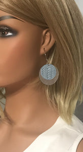 Silver and Baby Blue Leather Hoop Earrings - E19-906
