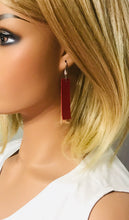 Load image into Gallery viewer, Red Genuine Leather and Natural Cork Earrings - E19-909