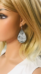Black and White Genuine Leather Earrings - E19-911
