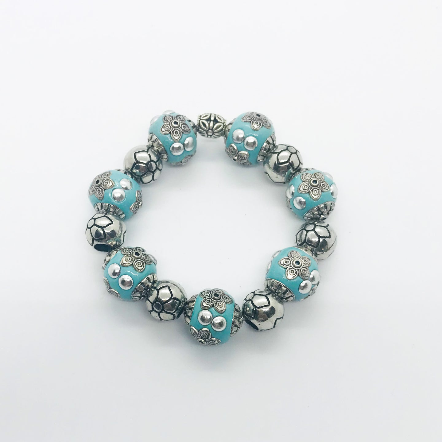 Big & Bold Collection Glass Bead Stretchy Bracelet - B927