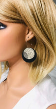 Load image into Gallery viewer, Biker Black and Paisley Black Leather Hoop Earrings - E19-929