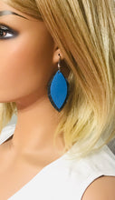 Load image into Gallery viewer, Spotted Blue Cork and Sky Blue Leather Earrings - E19-932