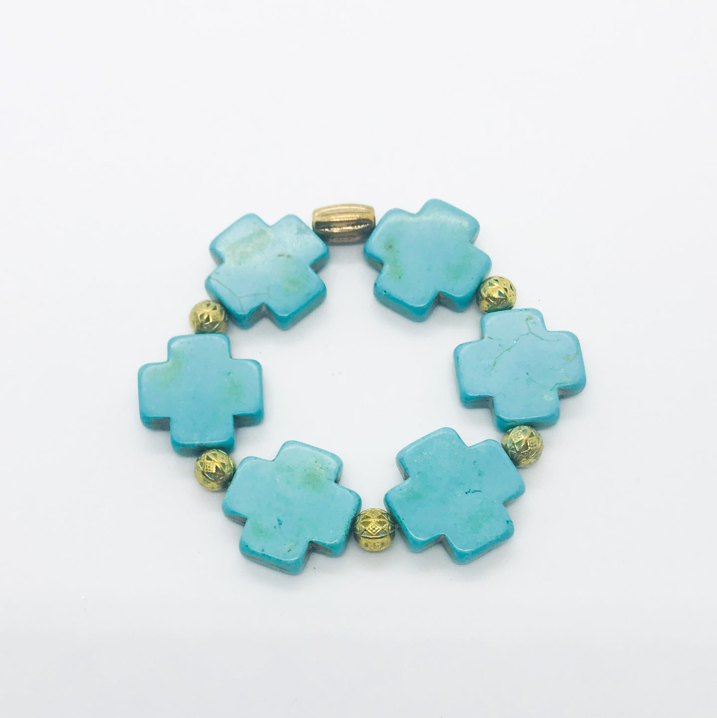 Big & Bold Collection Turquoise Cross Stretchy Bracelet - B932