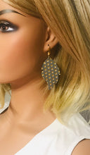 Load image into Gallery viewer, Metallic Grey and Gold Polka Dot Leather Earrings - E19-937
