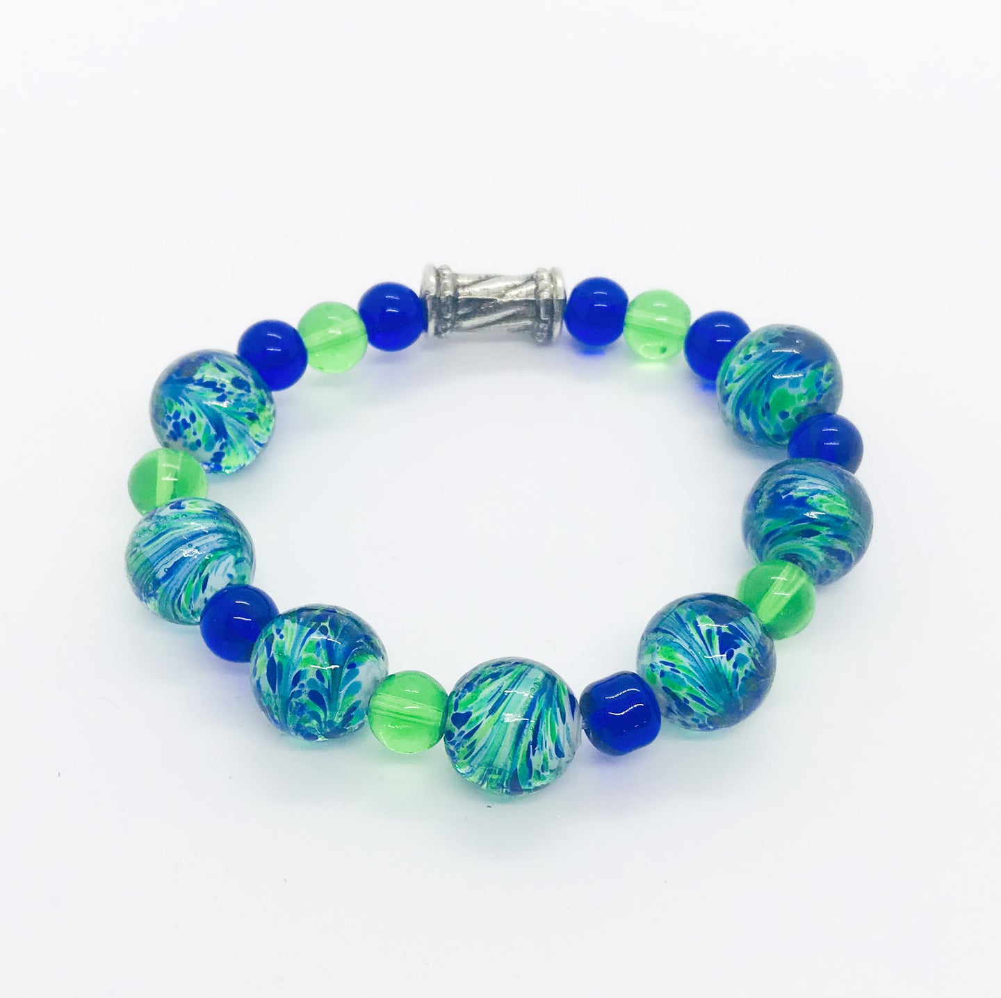 Glass Bead Stretchy Bracelet - B938