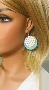 Aqua and White with Gold Polka Dot Leather Earrings - E19-943