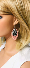 Load image into Gallery viewer, Cameo Pink and Cheetah Print Leather Earrings - E19-946
