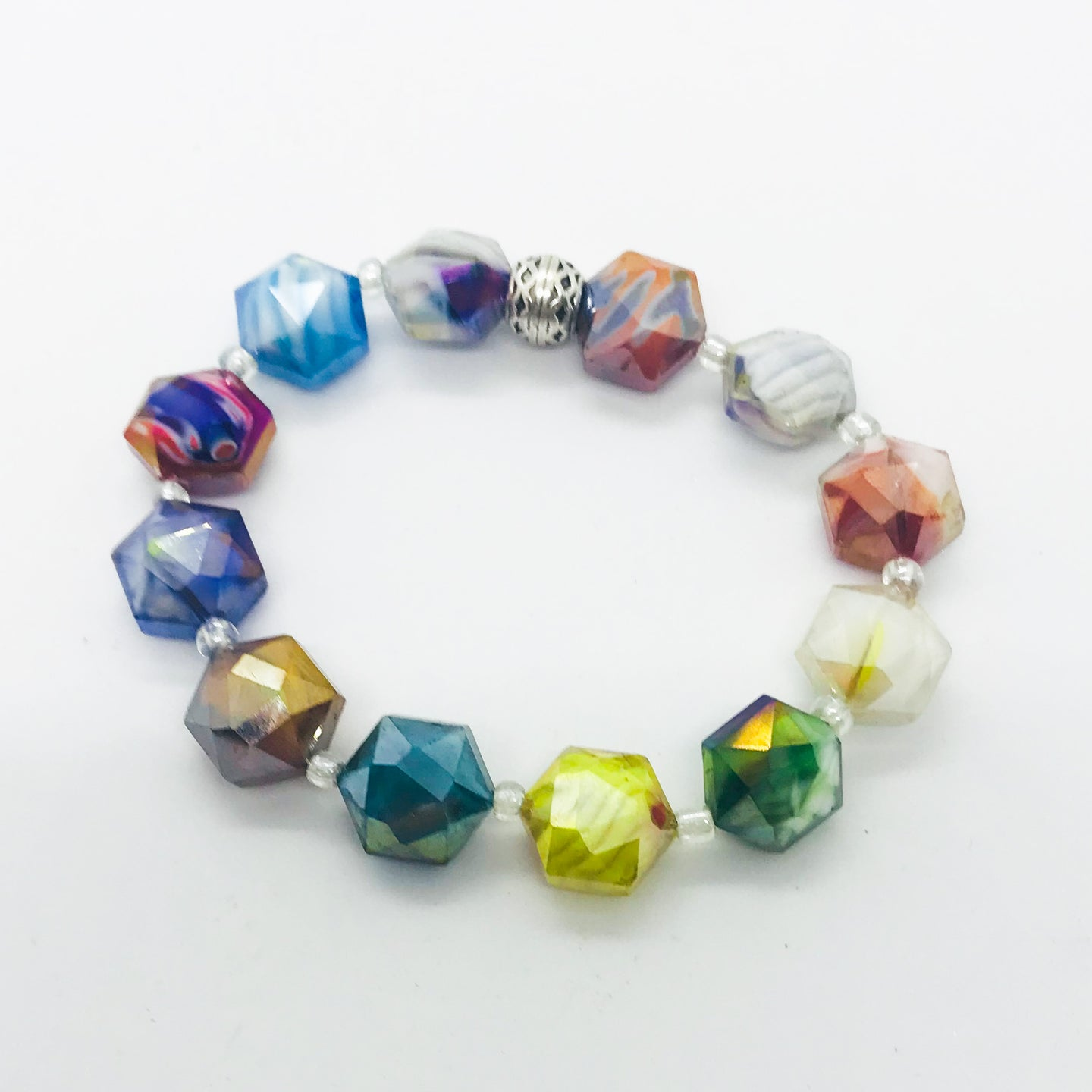 Glass Bead Stretchy Bracelet - B947