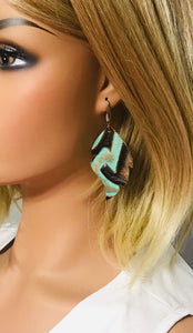 Teal Embossed Leather Earrings - E19-956