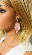 Load image into Gallery viewer, Light Pink Palm Leaf Leather Earrings - E19-959