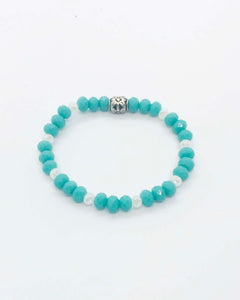 Glass Bead Stretchy Bracelet - B965