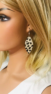 Hair On Beige Cheetah Leather Earrings - E19-973
