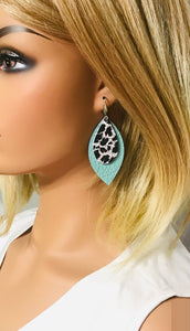 Aqua and Leopard Leather Earrings - E19-983