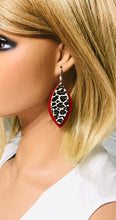 Load image into Gallery viewer, Red and Cheetah Print Leather Earrings - E19-988
