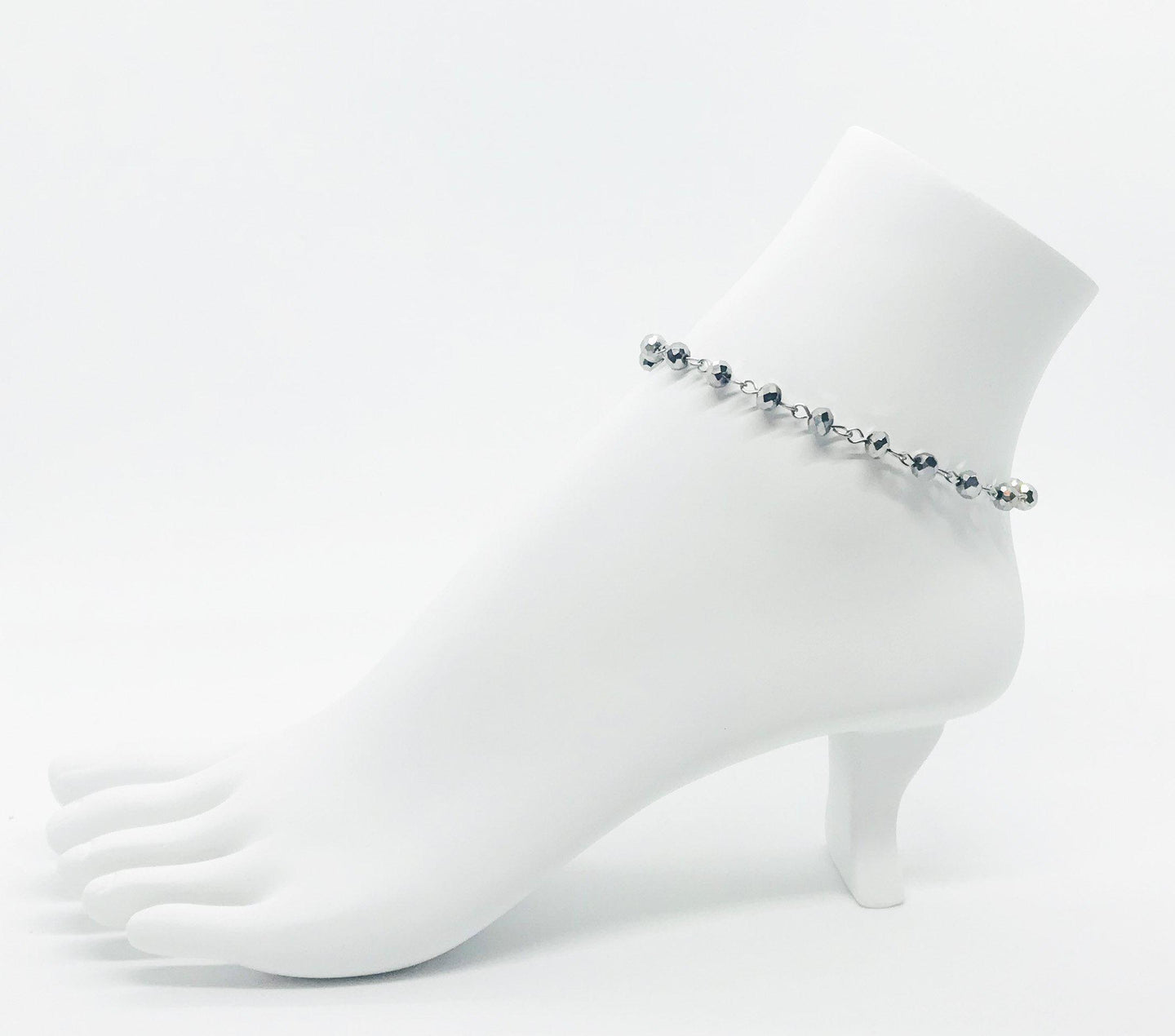 Gray Glass Bead Anklet