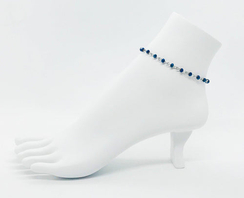 Blue Glass Bead Anklet