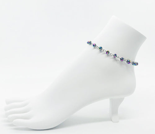 Multi-Color Glass Bead Anklet