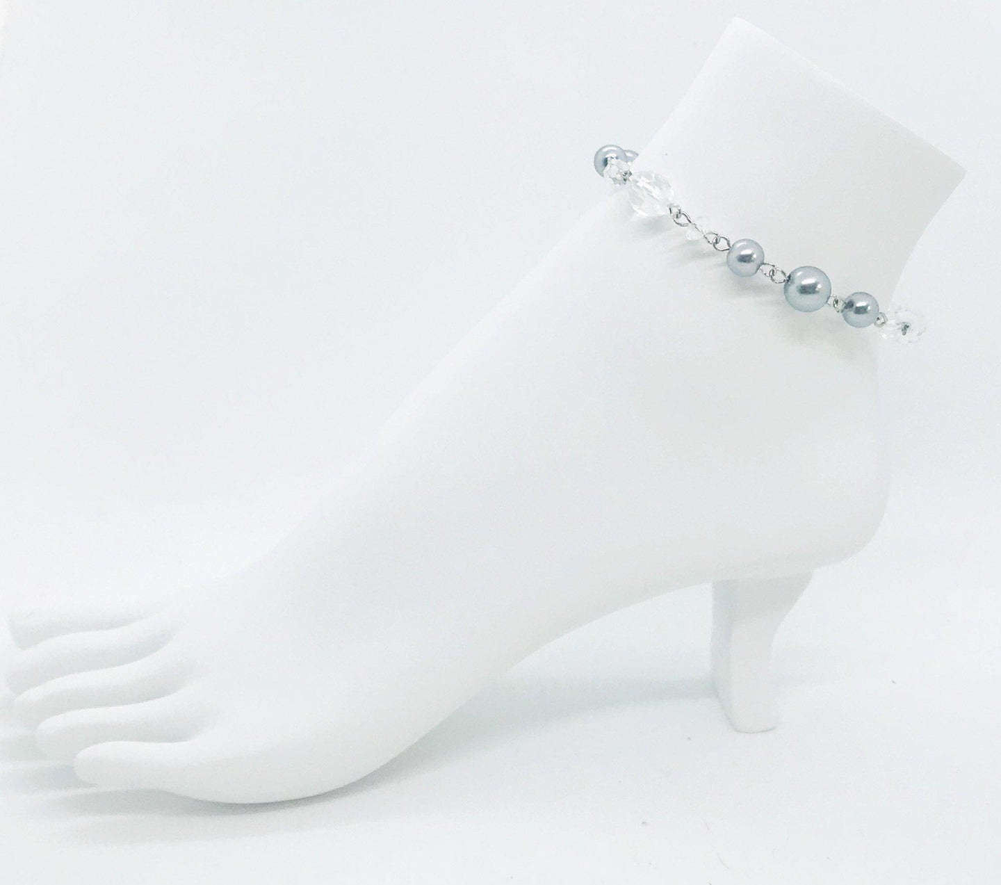 Gray Pearl and Clear Glass Bead Anklet