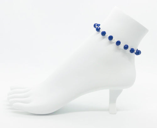 Royal Blue Glass Bead Anklet