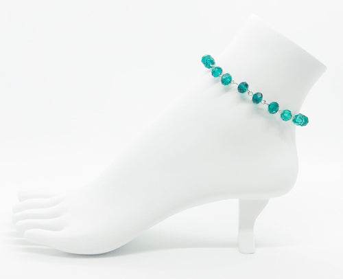 Peacock Green Glass Bead Anklet