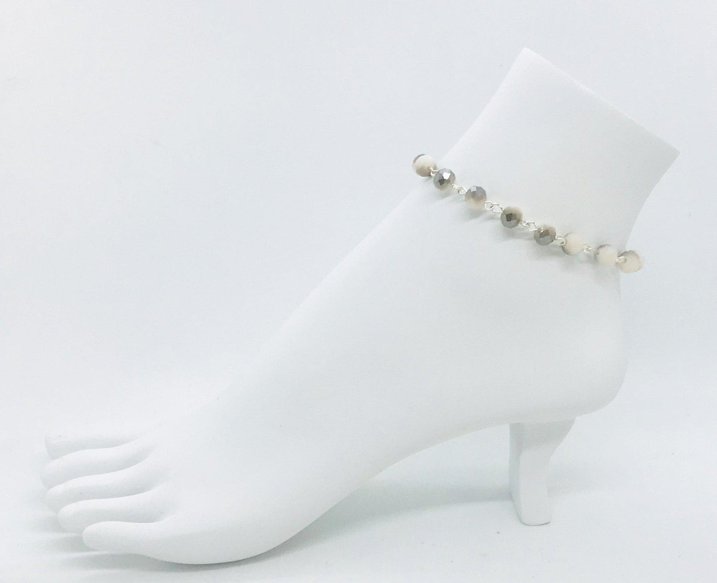 Beige Glass Bead Anklet