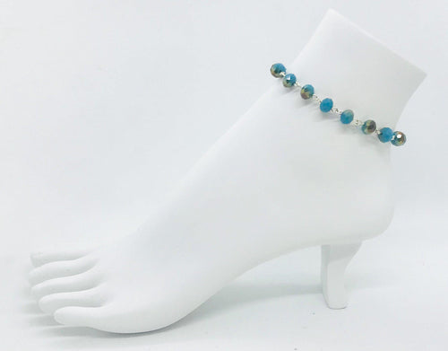 Aqua and Bronze Glass Bead Anklet