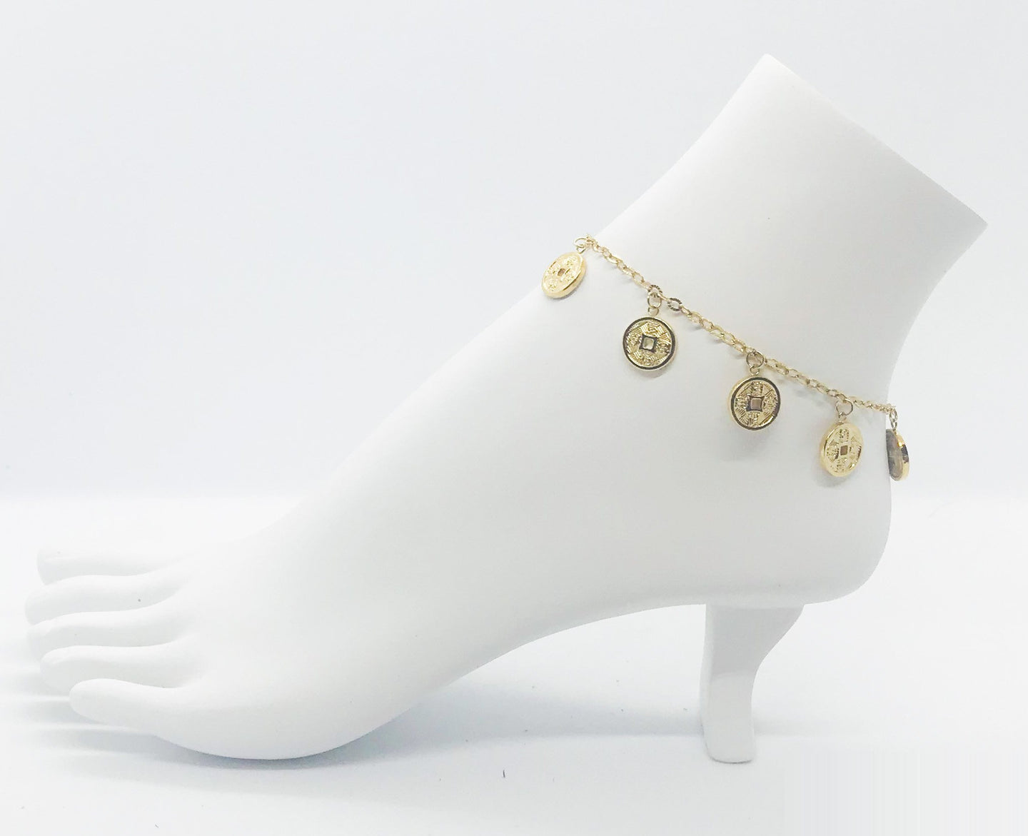 Stainless Steel Gold Coin Anklet - ANK042