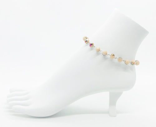 Peach and Bronze Glass Bead Anklet