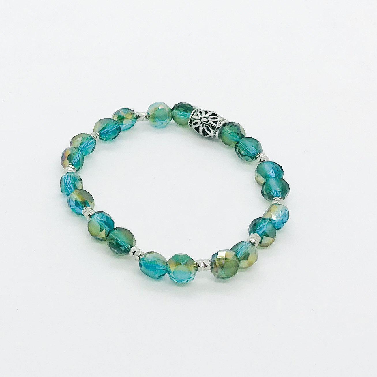Glass Bead Stretchy Bracelet - B1068