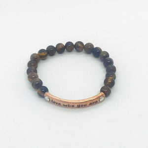 "Tiger's Eye ""Love Who You Are"" Bracelet - B156"