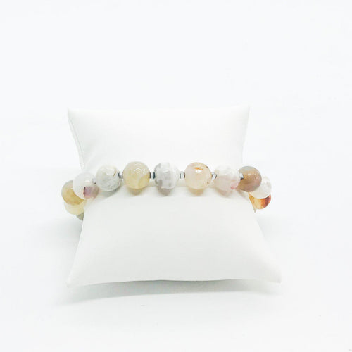 Gray Agate Stretchy Bracelet - B188