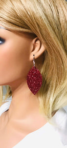 Pomegranate Chunky Glitter Leaf Shape Earrings - E107