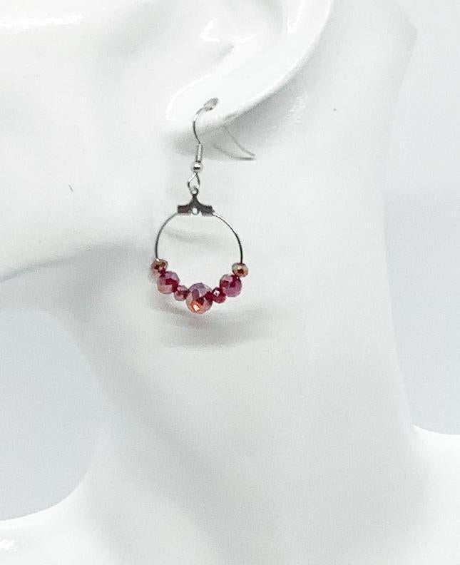 Maroon Glass Bead Earrings - E115