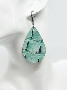 Alligator Mint Chocolate Chip Leather Earrings - E19-031
