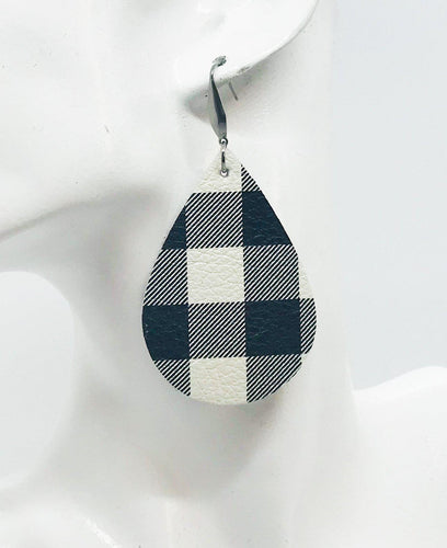 Mini Buffalo Plaid White and Black Leather Earrings - E19-049