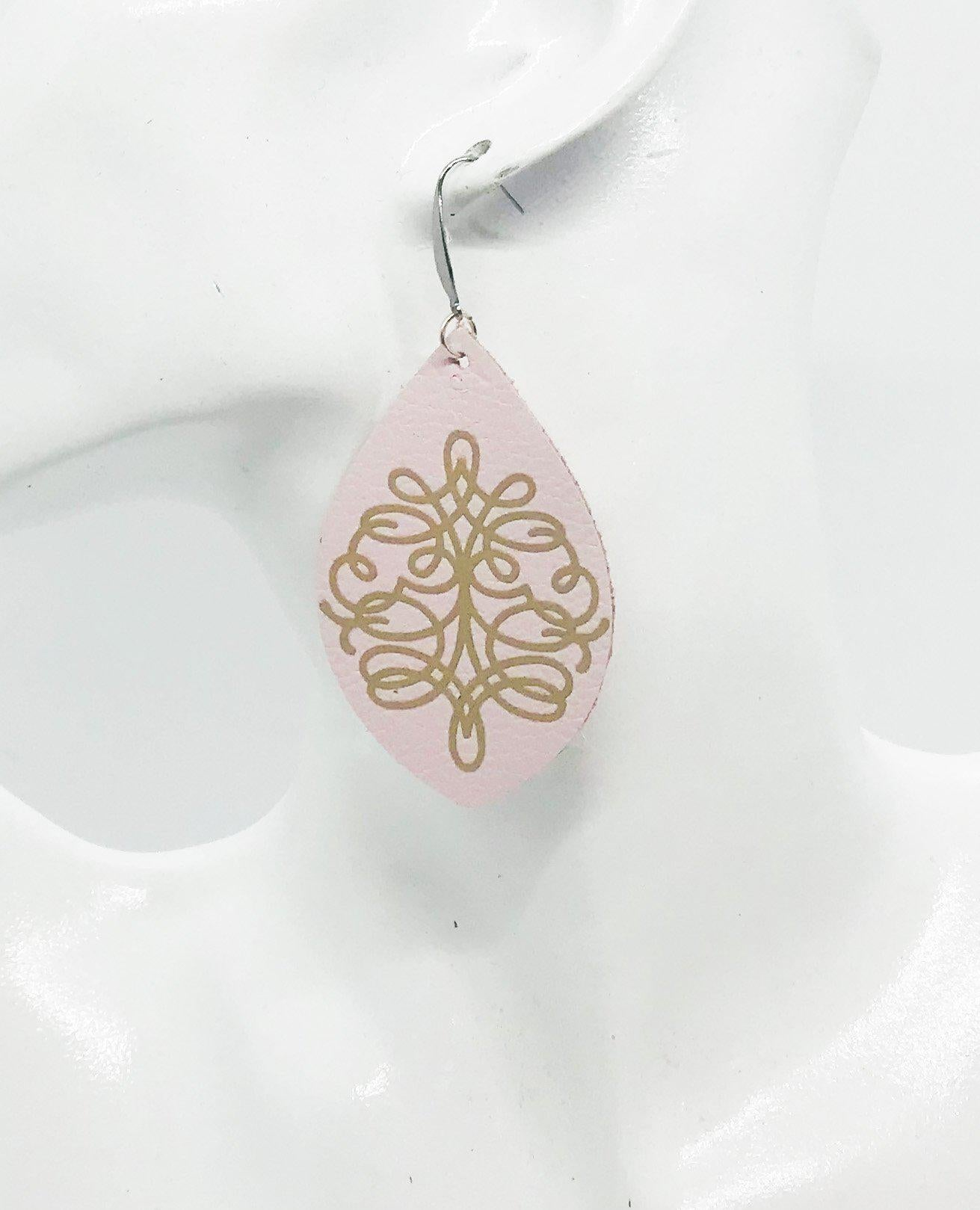 Genuine Baby Pink Leather Earrings - E19-082