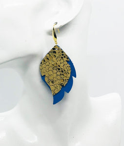 Blue and Metallic Gold Leather Earrings - E19-1001
