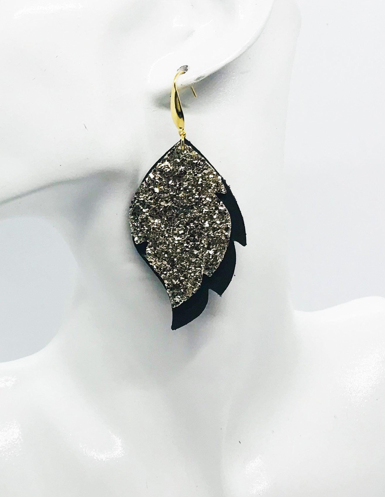 Brown and Gold Glitter Leather Earrings - E19-1006