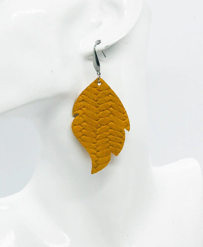 Mustard Braided Fishtail Leather Earrings - E19-1009